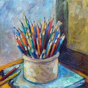 colored-pencils-in-butter-crock-jean-groberg