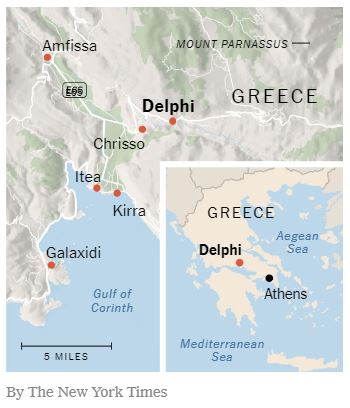 Greece and Delphi Map NYT