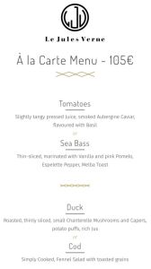Le Jules Verne Eiffel Tower Restaurant Menu 2019