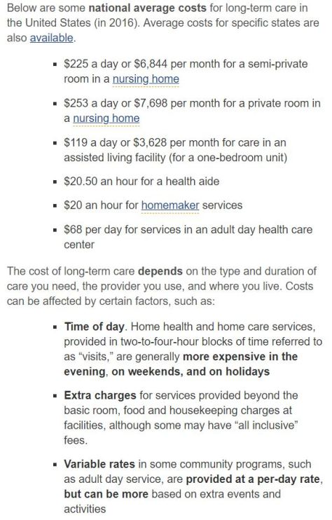 National Costs for Long Term Care