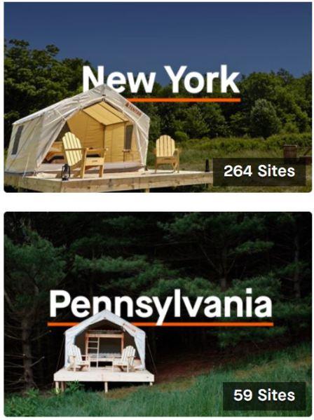Tentrr.com Camping Sites