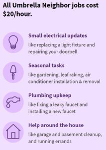 Umbrella Boomer Community App 65+ Home repairs