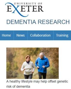 Univ of Exeter Genetic Risk of Dementia benefited by exercise