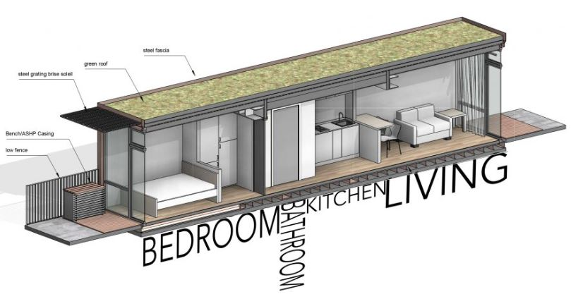 FBM Architects Vale of Aylesbury Housing Trust Container Low Cost Homes Cut Away View