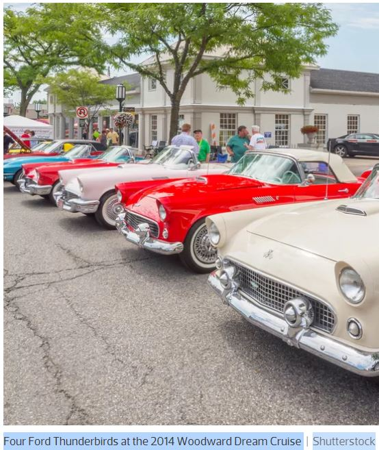 Four Ford Thunderbirds at the 2014 Woodward Dream Cruise - Shutterstock