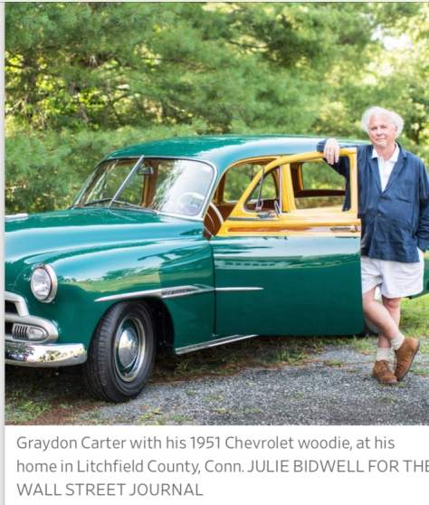 Graydon Carter with his 1951 Chevrolet woodie, at hishome in Litchfield County, Conn. JULIE BIDWELL FOR THEWALL STREET JOURNAL