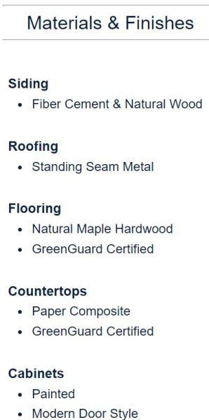 Module Design Homes Materials & Finish
