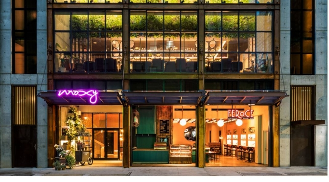 "Future Of Hotels: Moxy NYC Chelsea Features ""Stripped-Back"" Chic Design, ""Zany Bars"" & Space Saving Affordability"