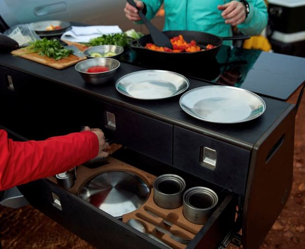 Rivian Electric Adventure Vehicles Functional Pull Out Kitchen close up