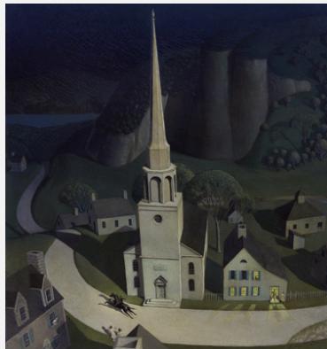 Grant Wood (1892−1942), Midnight Ride of Paul Revere, 1931. Oil on Masonite. Metropolitan Museum of Art