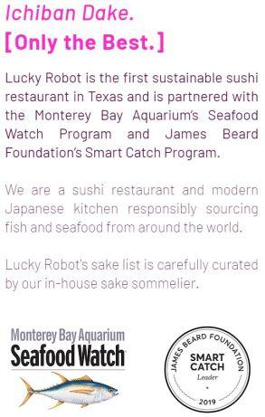 Lucky Robot Japanese Kitchen Austin sustainable Sushi
