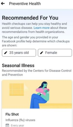 Facebook Preventative Health
