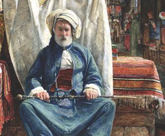 In the Bezestein, El Khan Khalil, Cairo (detail; 1860), John Frederick Lewis. Blackburn Museum and Art Gallery