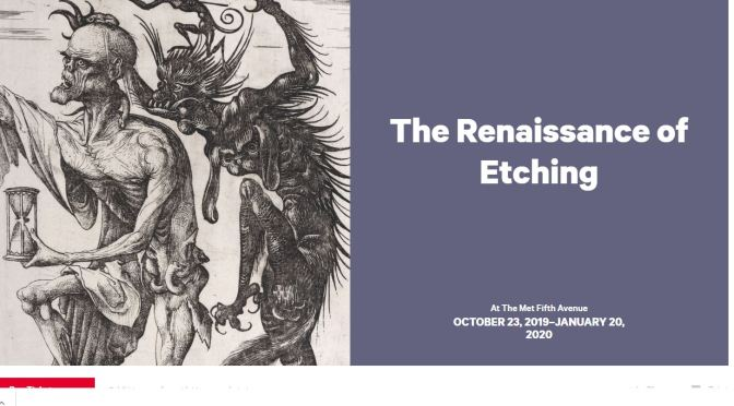 "Museum Exhibitions: ""The Renaissance Of Etching"" At The Metropolitan Museum Thru Jan. 20, 2020"