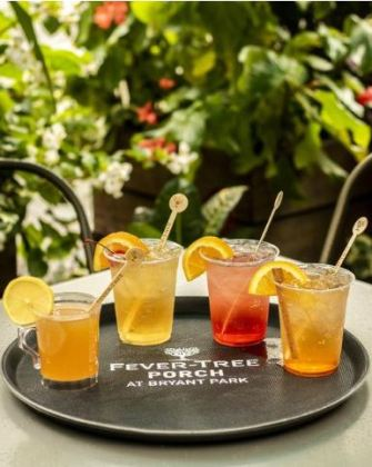 A collection of mixed drinks at the new Fever-Tree Porch at Bryant ParkANTHONY DEEYING