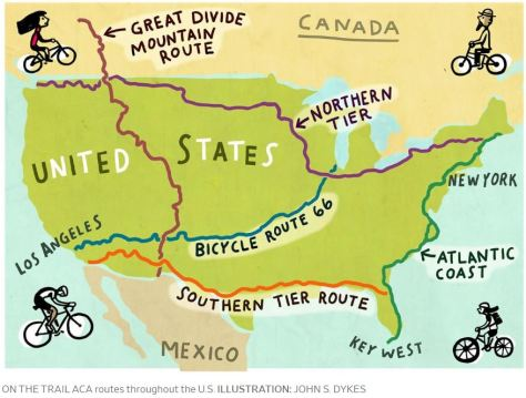 ACA Bicycle routes in U.S. Illustration by John S. Dykes Wall Street Journal