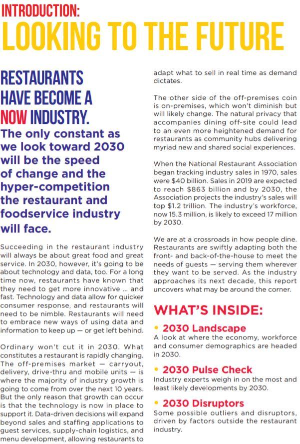 National Restaurant Association 2030 Restaurant Report