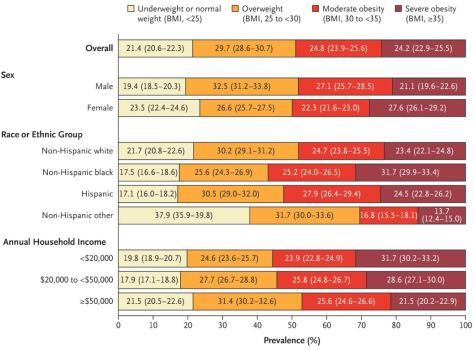 Projected National Prevalence of BMI Categories in 2030, According to Demographic Subgroup. New England Journal of Medicine December 2019