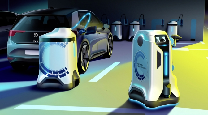 "Technology: VW's New ""Mobile Charging Robot"" Turns Every Carpark Into EV Charging Stations"