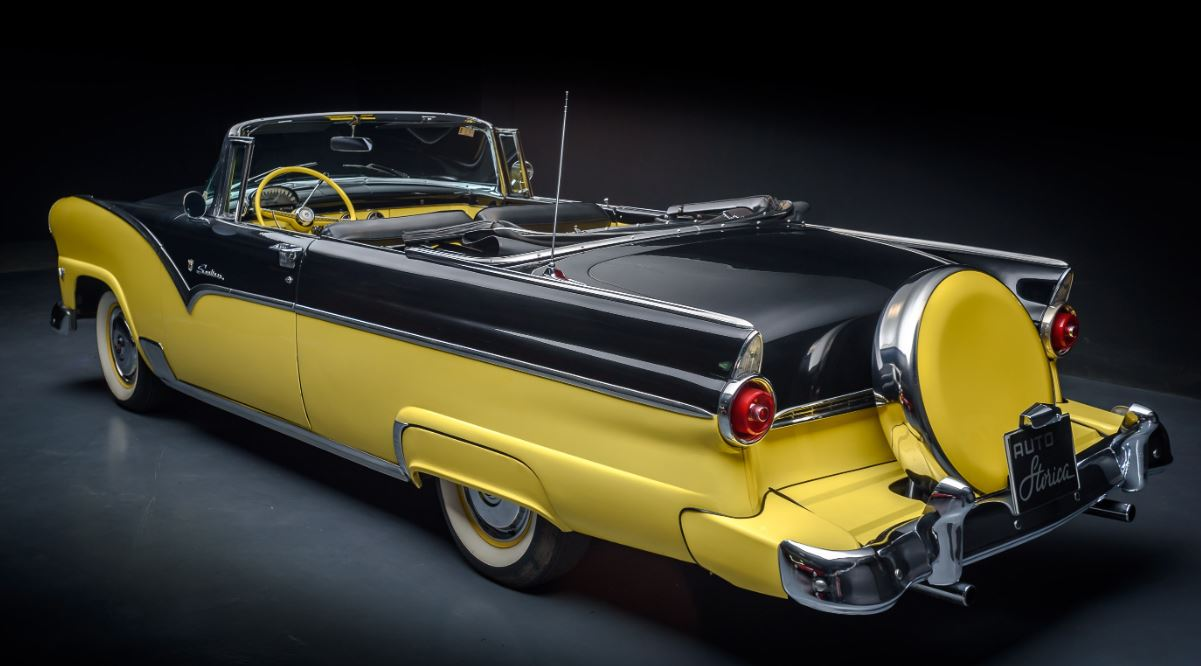 1955 Ford Fairlane Sunliner Convertible Rear View Classic Driver
