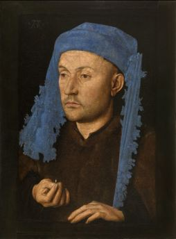 Jan van Eyck, Portrait of a Man with a Blue Chaperon, c. 1428-30 (Muzeul National Brukenthal, Sibiu, Romania)