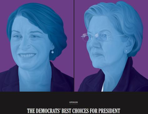 NY Times Endorse Amy Klobuchar and Elizabeth Warren for Democratic Presidential Candidate