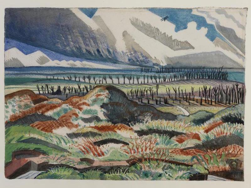 Paul Nash:  Ruined Country - Old Battlefield, Vimy, near La Folie Wood, 1918.