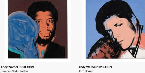 Andy Warhol Athletes paintngs Kareem Abdul-Jabbar & Tom Seaver Christie's Magazine February 2020