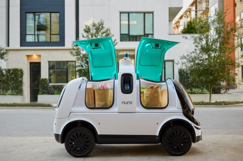Nuro Self-Driving Delivery Vehicle compartments open