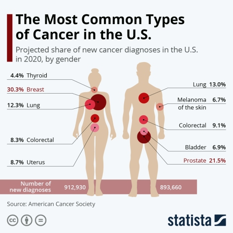 The Most Common Types of Cancer in the U.S. American Cancer Socieaty 2020
