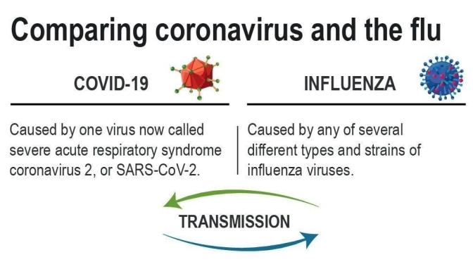 "Health Update: Comparing ""Coronavirus / Covid-19"" And ""Influenza"" (W.H.O.)"