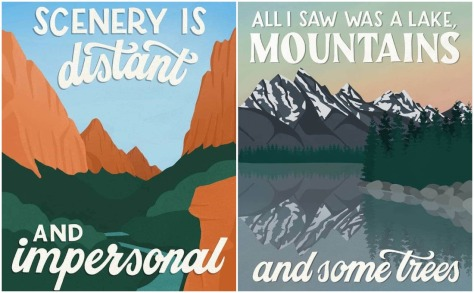 Humorous National Park Posters based on Visitors 1 star reviews by Amber Share