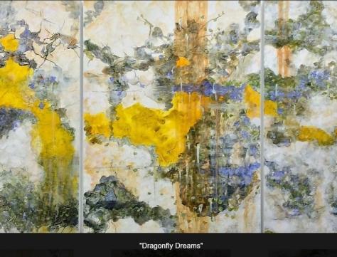 Riitta Klint Dragonfly Dreams Triptych Acrylic and Pencil on Claybord