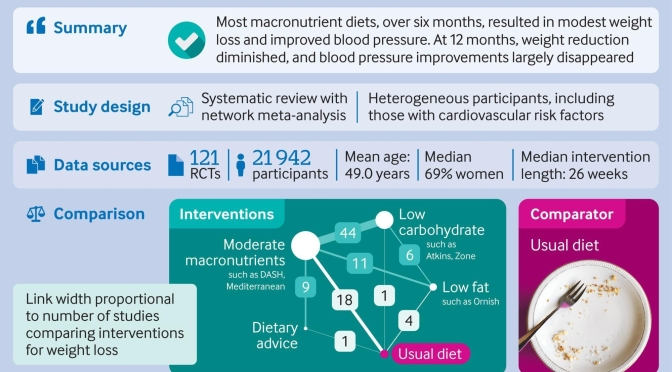 "Diet Infographic: Most ""Macronutrient Diets""  Reduce Weight & Blood Pressure In 6 Months (BMJ)"