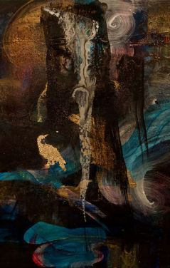 Peggy Cyphers - Luminescent Waterfall 2018 mixed media on canvas