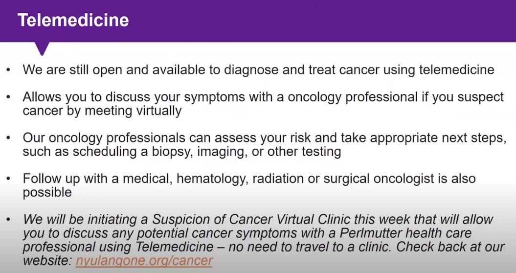 Telemedicine NYU Langone Health Cancer and Covid-19