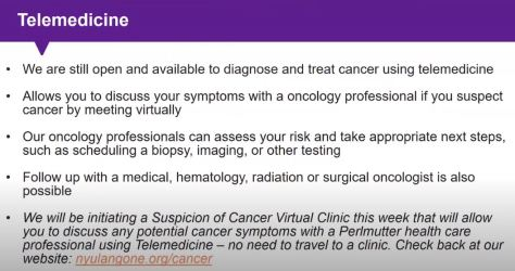 Telemedicine NYU Langone Health Cancer and Covid-19