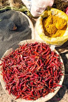 Red chili, black pepper and turmeric at local market