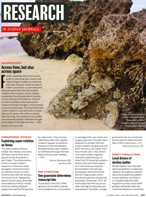 Science Magazine Research Highlights April 24 2020
