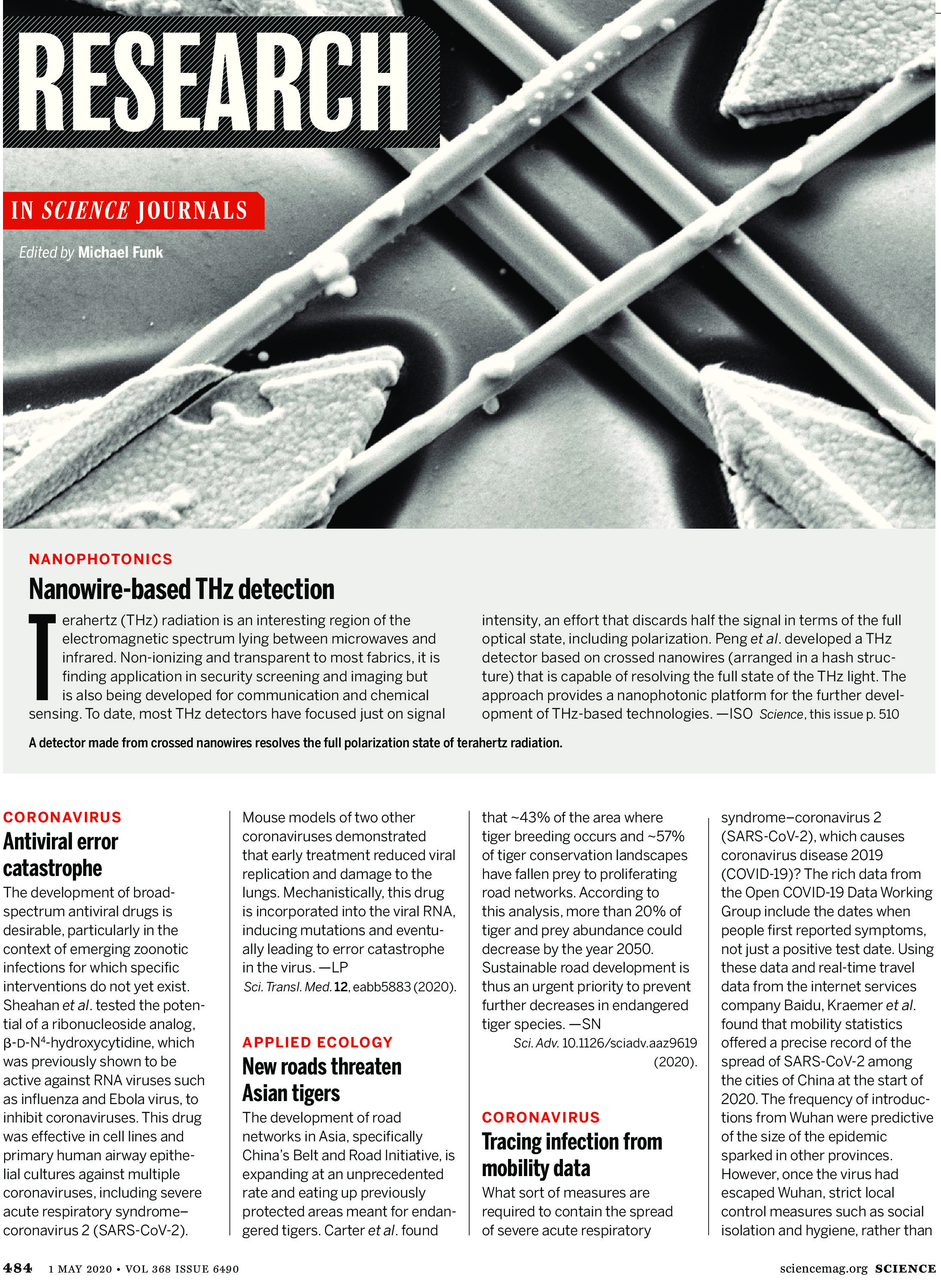 SCIENCE MAGAZINE RESEARCH HIGHLIGHTS MAY 1 2020
