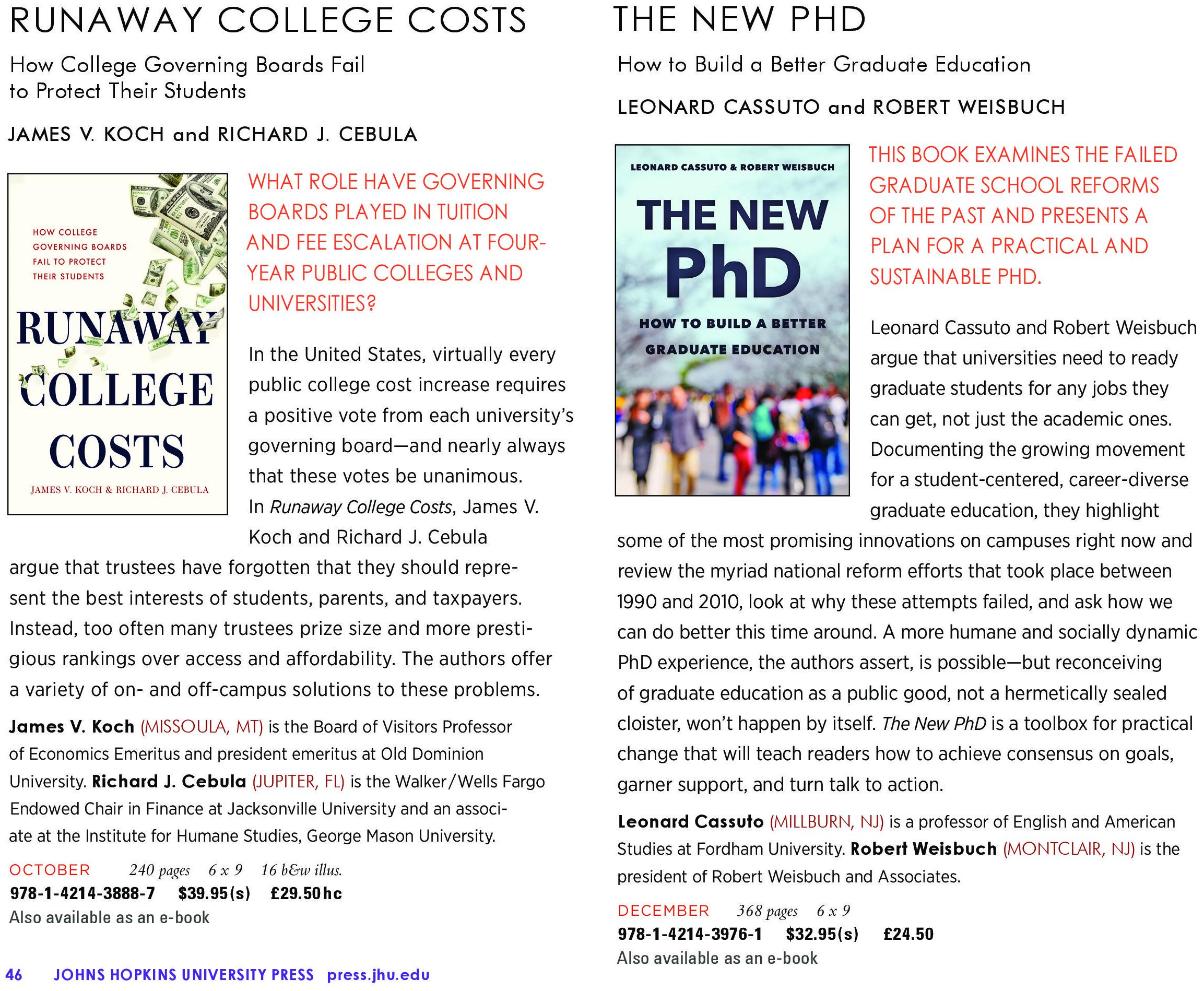 Johns Hopkins University Press New Titles for Fall / Winter 2020