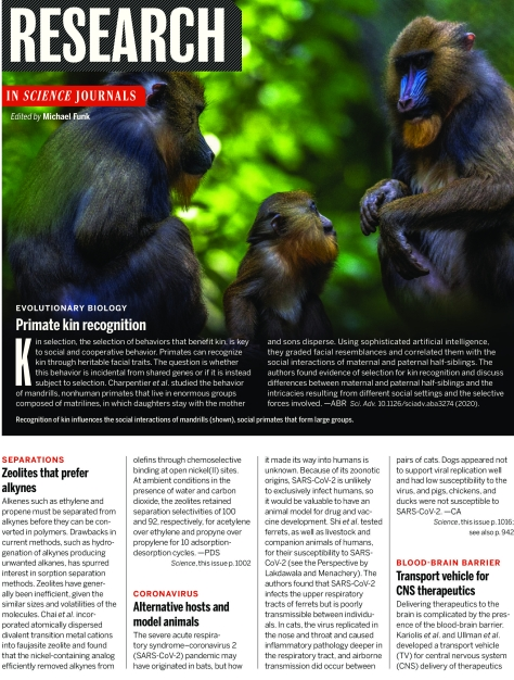 Science Magazine Research Highlights May 29 2020