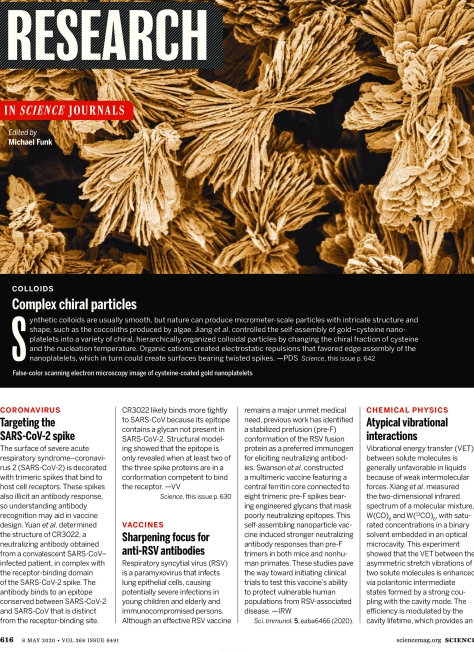 SCIENCE MAGAZINE - MAY 8 2020 RESEARCH HIGHLIGHTS