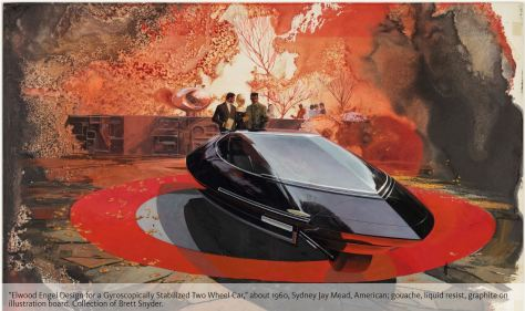 Elwood Engel Design for a Gyroscopically Stabilized Two Wheel Car 1960