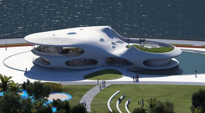 "Futuristic Architecture: ""Wormhole Library"" On South China Sea (2021)"