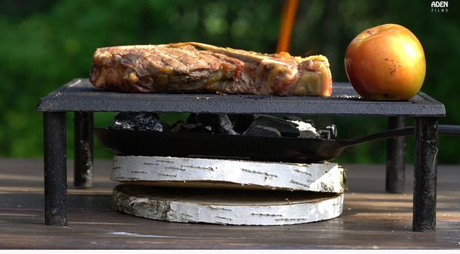 Culinary BBQ: Hereford Porterhouse Steak With Bourbon Apple – Wood Coals, Blow Torch (Video)