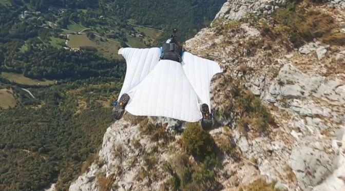 Extreme Sports: First-Person View 'Base Jump Wingsuit Flying' In France