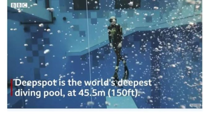 Sports: 'Deepspot' – The World's Deepest Diving Pool (150 Ft.) In Poland