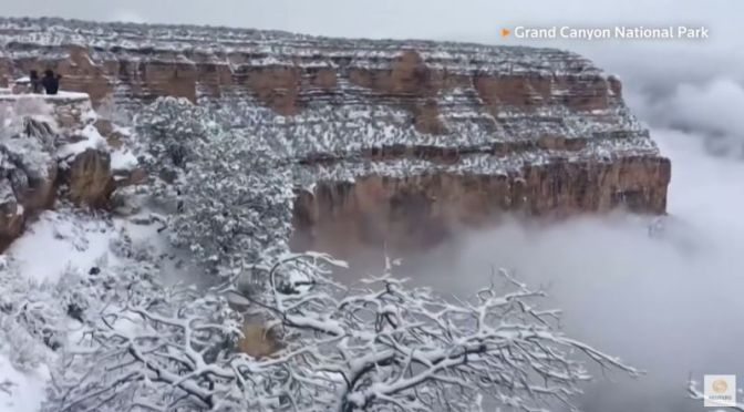 Winter Views: Clouds Fill Snow-Covered Grand Canyon In Arizona (Video)