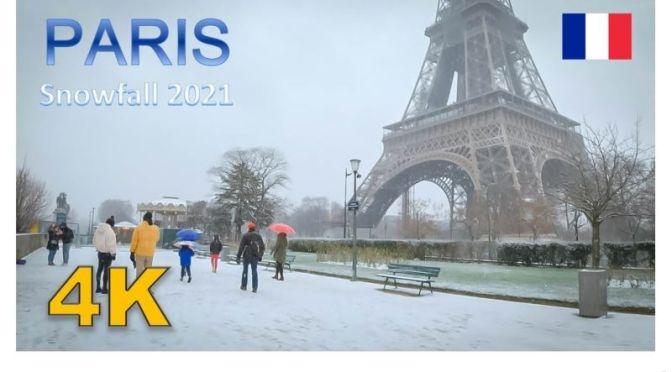 Walks In Snow: 'The Eiffel Tower, Paris' (4K Video)